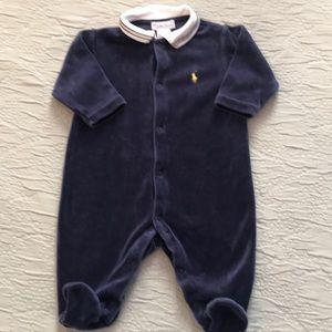 Ralph Lauren long sleeve velour footie 6 months